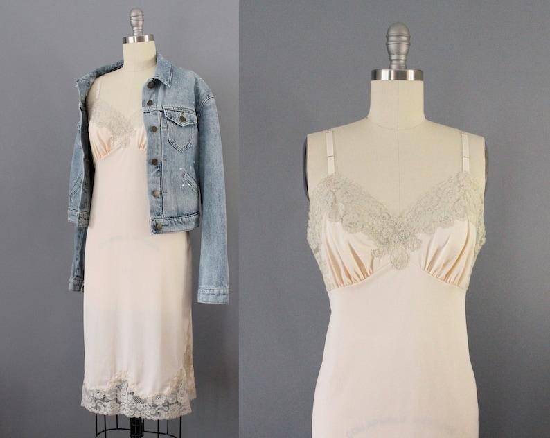 73530405c6553 Peach slip dress vintage 50s lingerie full slip pink and   Etsy