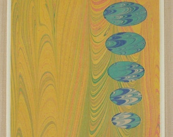 BC110  Hand Marbled Silk Bubbles of Blue float across a Pastel sky.
