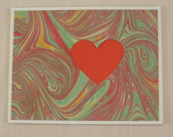 SHC114  Hand crafted marbled silk Heart Card in classic Red with swirls of emotion.