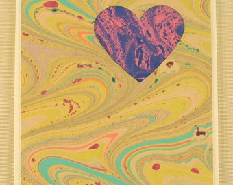 "SHC115  Marbled silk Heart Card says ""I love you"" in a bold way!"