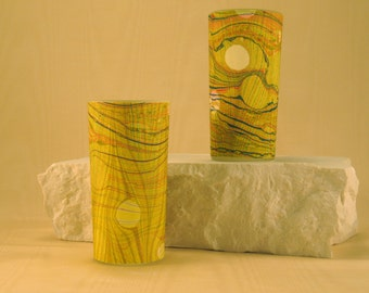 Tall Votive Candle holders of Hand Marbled Silk in and over-marbled pattern of Greens and Yellows.