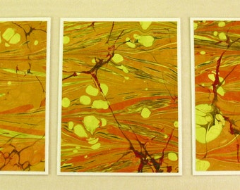 Note Cards SCS110  Set of Three Hand Marbled Silk Note Cards in Orange, Chartreuse, and Deep Red from Brooklyn Marbling
