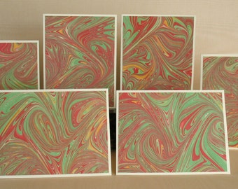 BXSS108  Note Cards in Sets of Six, Hand Marbled from Brooklyn Marbling.