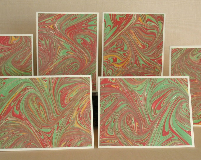 Featured listing image: BXSS108  Note Cards in Sets of Six, Hand Marbled from Brooklyn Marbling.