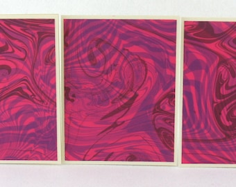 Note Cards SCS128  Suminagashi Marbled Silk in Sets of Three from Brooklyn Marbling