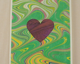 "SHC109  Hand crafted marbled silk Heart Card says ""I love you"" in a special way."