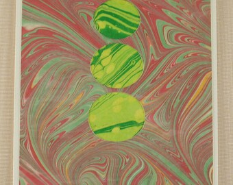 BC106  Hand Marbled Silk Bubbles of green and yellow float through a red sky.