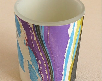 Bold votive candle holder in hand marbled silk