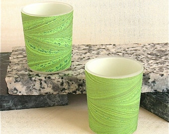 Kelly green feathery hand marbled silk wrapped round a votive for tea lights or votive candles