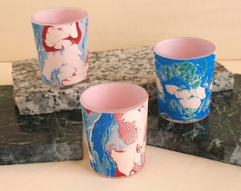Hand marbled silk votive holder in subtle pink, blue and crimson