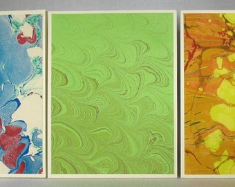 Note Cards SCS158  Note Cards, Hand Marbled Silk, Set of Three, original different designs from Brooklyn Marbling