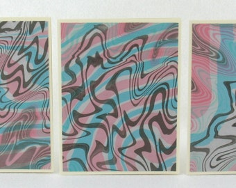Noted Cards SCS119  Suminagashi Marbled Silk in Sets of Three from Brooklyn Marbling