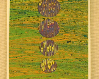 "BC104  Hand Marbled Silk Bubble Card in greens and yellows with a ""Pop"" of purple."