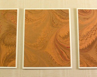 Note Cards SCS101 Set of Three Hand Marbled Silk Note Cards from Brooklyn Marbling