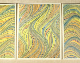 Note Cards SCS155 Set of Three Hand Marbled Silk Note Cards in multi-colored swirls from Brooklyn Marbling