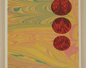 BC108  Hand Marbled Silk Bubbles in bold red pop out of a pastel sky.