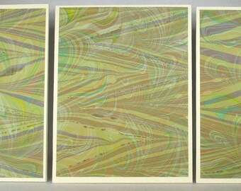 Note Cards SCS147 Set of Three Hand Marbled Silk Note Cards in multi-colored swirls from Brooklyn Marbling