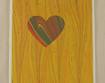 "SHC111  Hand crafted marbled silk Heart Card says ""I love you"" in a festive way!"