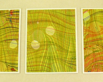 Note Cards SCS111  Set of Three Hand Marbled Silk Note Cards in Chartreuse, Green, and Orange from Brooklyn Marbling