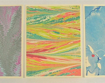 Note Cards SCS137, Hand Marbled Silk, Set of Three, original different designs from Brooklyn Marbling