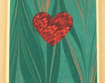 SHC121  Hand crafted marbled silk Heart Card with a classic Marbled Red Heart.