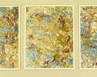 Note Cards  SCS106  Set of Three Hand Marbled Silk Note Cards in Blues and Browns from Brooklyn Marbling