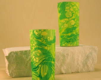Tall Votive Candle holders in swirls of Green and Yellow.