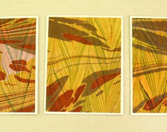 Note Cards SCS114  Set of Three Hand Marbled Silk Note Cards in Rust, Brown, and Yellow from Brooklyn Marbling