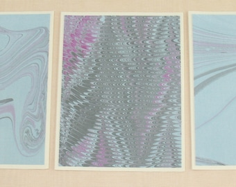 Note Cards SCS144  Hand Marbled Silk, Set of Three, original different designs from Brooklyn Marbling