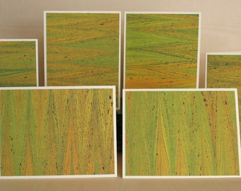 BXSS109  Note Cards in Sets of Six, Hand Marbled from Brooklyn Marbling