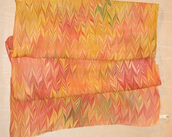 Silk Scarf Autumn Hued Hand Marbled Square from Brooklyn Marbling- Free Shipping in the USA!