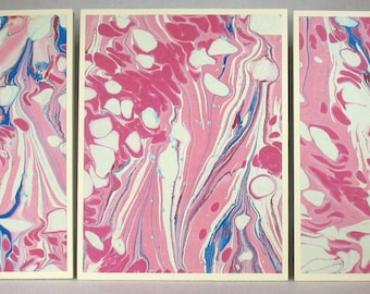 Note Cards SCS146 Set of Three Hand Marbled Silk Note Cards in multi-colored swirls from Brooklyn Marbling