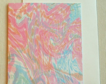 Note Card PC025 Printed Marbled Design, Suminagashi style from Brooklyn Marbling