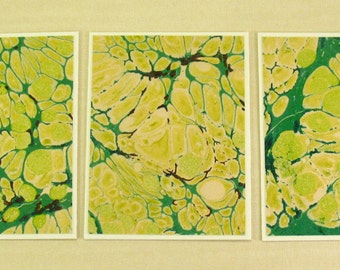 Note Cards SCS145  Set of Three Hand Marbled Silk Note Cards in swirls of Greens and Yellows from Brooklyn Marbling