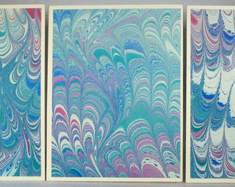 Note Cards SCS153 Set of Three Hand Marbled Silk Note Cards in multi-colored swirls from Brooklyn Marbling