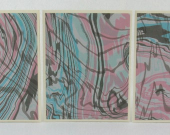 Note Cards SCS117 Hand Marbled Silk in Sets of Three from Brooklyn Marbling