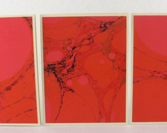 Note Cards SCS132  Set of Three Hand Marbled Silk Note Cards from Brooklyn Marbling
