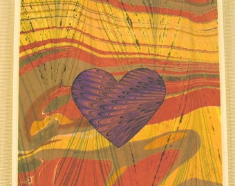 "SHC110  Hand crafted marbled silk Heart Card says ""I love you"" in russet tones."