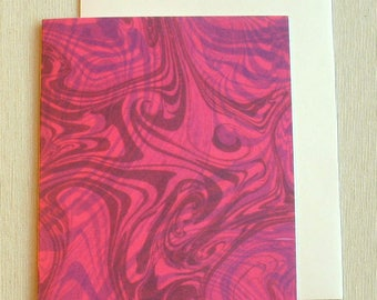 Note Card PC027 Printed Marbled Design, Suminagashi style from Brooklyn Marbling