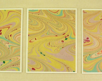Note Cards SCS102 Set of Three Hand Marbled Silk Note Cards in multi-colored swirls from Brooklyn Marbling