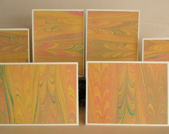 BXSS105  Note Cards in Sets of Six, Hand Marbled from Brooklyn Marbling.