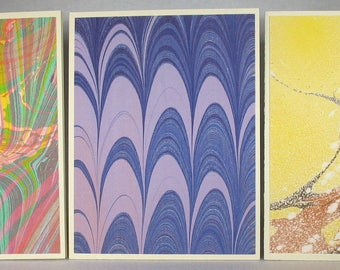 Note Cards SCS159  Note Cards, Hand Marbled Silk, Set of Three, original different designs from Brooklyn Marbling