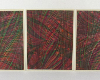 Note Cards SCS131  Set of Three Hand Marbled Silk Note Cards from Brooklyn Marbling