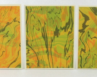 Note Cards SCS118  Suminagashi Marbled Silk in Sets of Three from Brooklyn Marbling