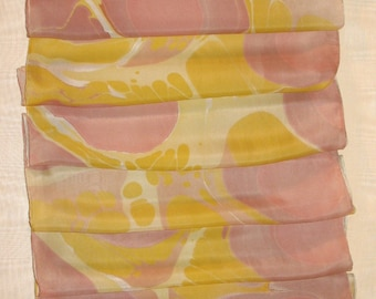 Silk Scarf Wine and Topaz Hand Marbled Long - Free Shipping in the USA!