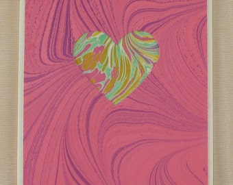 SHC101  Heart card of pink and lavender marbled swirls with a hand-cut marbled heart. Free shipping