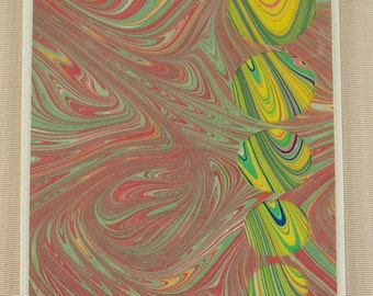 BC105  Hand Marbled Silk Bubbles in swirls of yellow surrounded by swirls of red and green