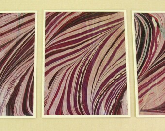 Note Cards SCS105  Set of Three Hand Marbled Silk Note Cards in Red, Black and White from Brooklyn Marbling