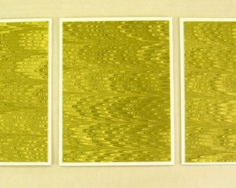 Note Cards SCS115  Set of Three Hand Marbled Silk Note Cards in Yellow and Black from Brooklyn Marbling