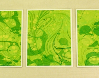 Note Cards SCS103  Set of Three Hand Marbled Silk Note Cards in Chartreuse and Greens  from Brooklyn Marbling